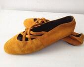 vintage 80's Sam & Libby golden suede ballet flats size 8.5/9