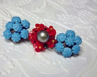 Czech Blue Red Flower Brooch, Flower Jewelry, Art Deco Jewelry, 1930's  1940's Costume Jewelry