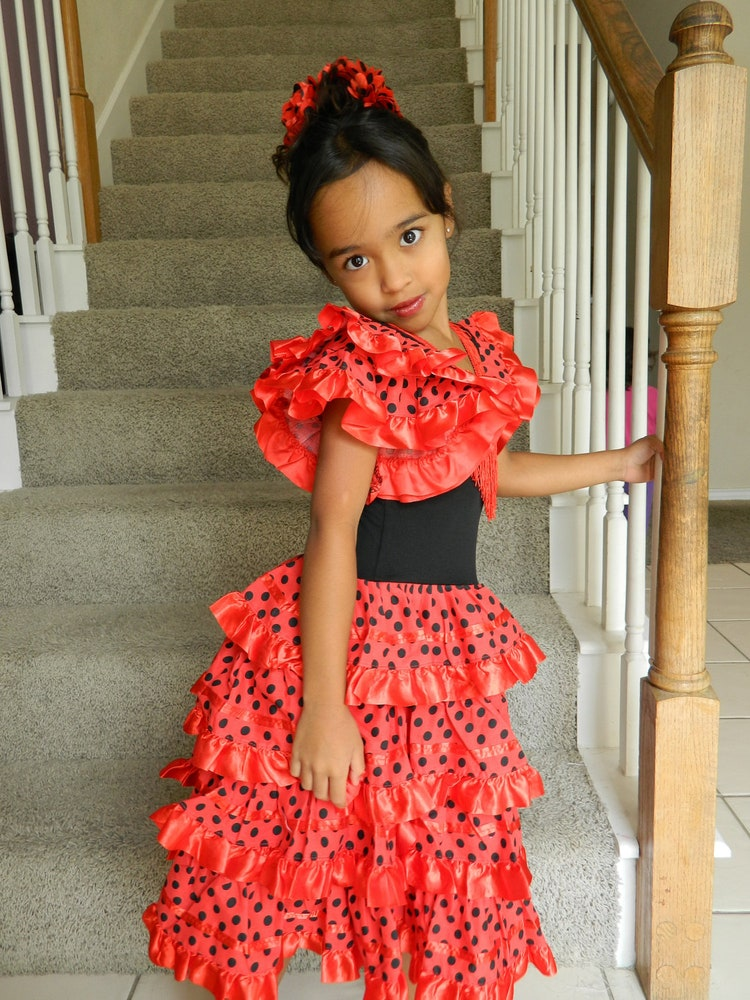 Spanish Flamenco Dancer Costume For Girls Sizes By