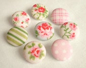 Fabric Buttons, Shabby Cottage Chic, 8 Small Pink Blue White Floral, Gingham, Polka Dots, Green Striped, Fabric Covered Button, Clothing
