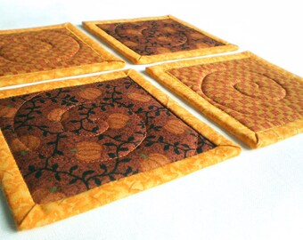 Quilted Fabric Coasters - Pumpkins with Tendrils- 4 Reversible Patchwork Quilts - Brown Orange Yellow Plaid Candle Mat Autumn Set