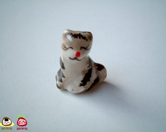 Miniature Kitten, Miniature cat, Smiling Grey and White Ceramic Kitten, ceramic cat, miniature ceramic, tiny ceramic, mini cat, tiny, gray