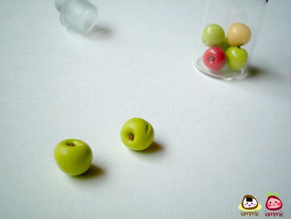 Miniature Clay Apple, food figurine, clay fruits, jar, miniature clay food, miniature sweet, poly clay, miniature food, iammie