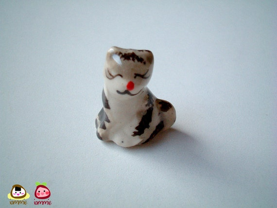 Miniature Kitten, Miniature cat, Smiling Grey and White Ceramic Kitten, ceramic cat, miniature ceramic, tiny ceramic, mini cat, tiny, gray