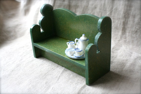 Vintage Doll House Hitty Deacon's Bench Pew Green Wood Chair