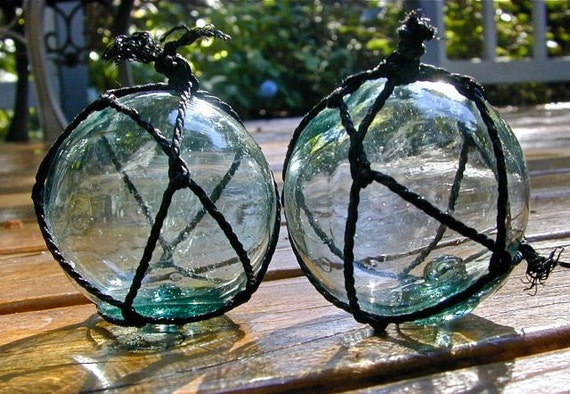 Glass Fishing Float Collectible, River Song Twins MARKS, Antique, Nautical, Beach Cottage Decor, Beach Decor, Sea, Ocean, Home and Garden