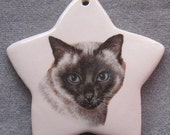Siamese Cat Applehead star ornament, free personalizing 22k gold by Nicole