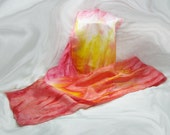 RESERVED!!!! Sunset Storm Orange Red Yellow and White Hand Painted Silk Scarf