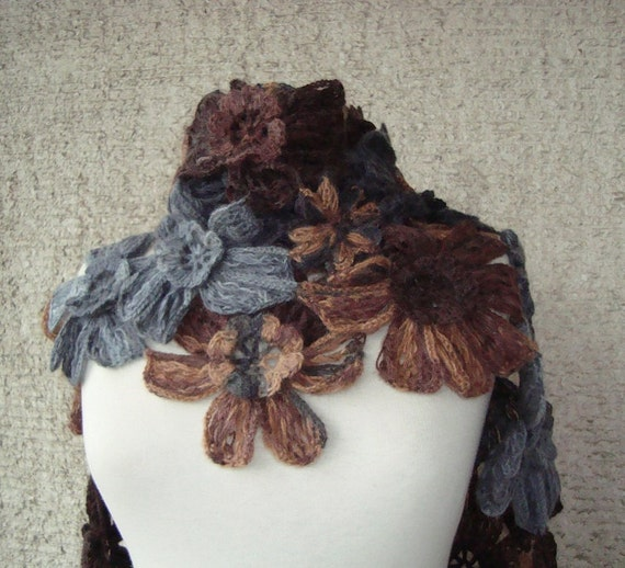 EXPRESS DELIVERY, Grey and Brown Daisy Flower Scarf - Scarflette