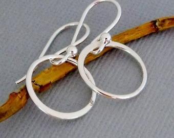 Silver Hoop Earrings, Dangling Sterling Silver Circle Earrings, Simple Hoop Earrings, Sterling Silver Jewelry