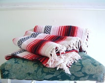 Red Striped Tribal Mexican Southwestern Throw Blanket TWIN Bedspread Vintage 90s