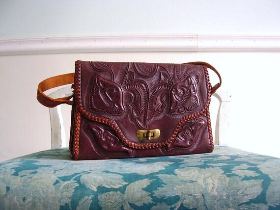 70s Tooled Leather Floral Reversible Hand Bag - Vintage Boho