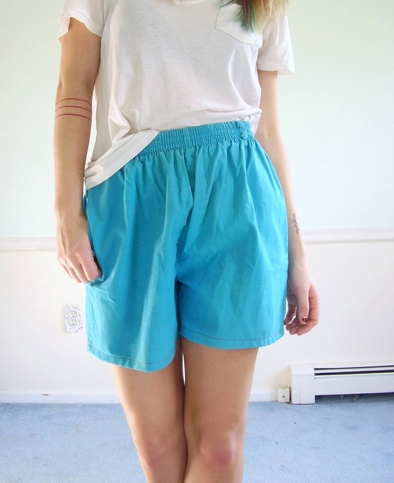 ON SALE Battery Blue Vintage 80s Cotton High Waist Shorts M/L