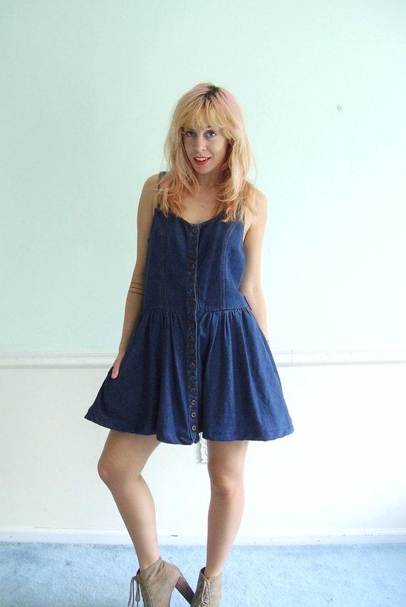 Denim Mini Babydoll Dress - Dark Blue - Vintage 90s - SMALL S - Sleeveless
