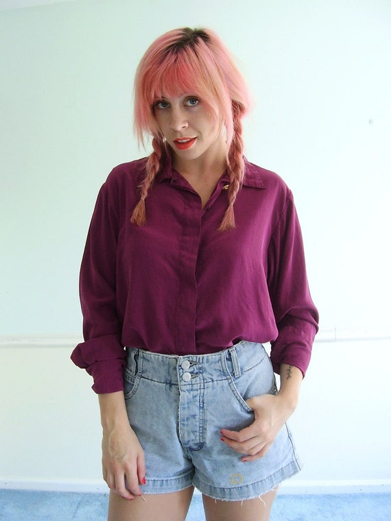 Plumb Maroon Silk Button Down Blouse Shirt - Vintage 80s - MEDIUM M