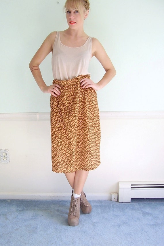 Harvest Floral Vintage 70s Light Knit Knee Length Skirt MEDIUM
