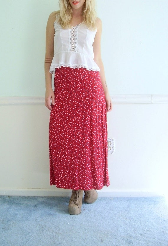 90s Ditsy Floral Print Maxi Skirt - Vintage High Waisted - Red - SMALL S