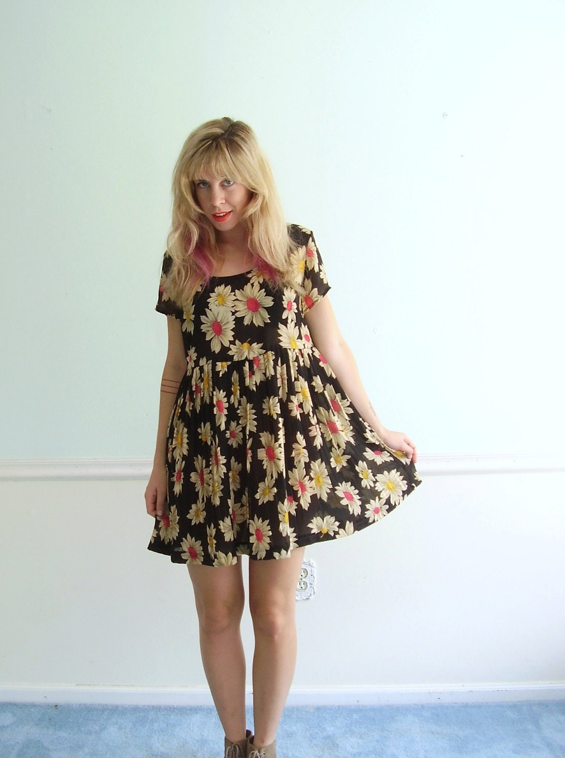Daisy Print 90s Mini Babydoll Dress Floral Black Vintage