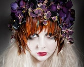 "Sumptuous Feather, Hydranger, Orchid, Butterfly Wing and Magpie Skull Headpiece ""Freyja"""