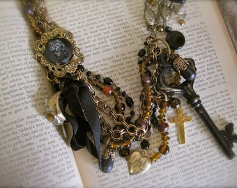 Broken Promise: Mourning Necklace Vintage Assemblage Long Victorian Necklace Cameo Key Heart Locket Ring Cross One of a Kind Statement