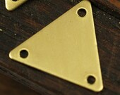 50 Pcs Raw Brass Triangle Charms 3 Holes (12 X 14 Mm)  A0017