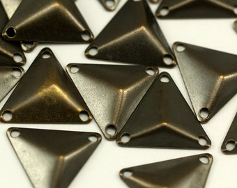 Antique Brass Pyramid, 150 Antique Brass Triangle Cambered Pyramids With 3 Holes, Findings, Bead Caps, Tags (14mm)