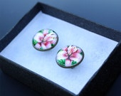 Pink Lily Flower Cuff Links Original Artwork