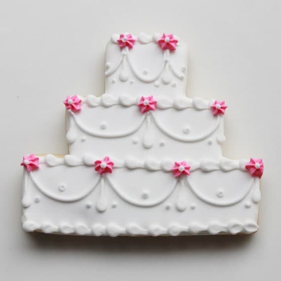 decorated wedding cake cookies items similar to floral swag wedding cake cookie favors 13376