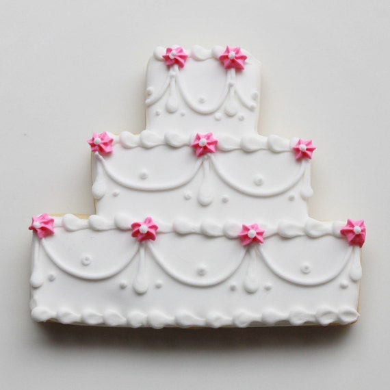 iced wedding cake cookies items similar to floral swag wedding cake cookie favors 16245