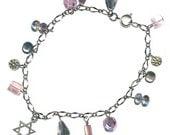 Magen David Jewish star Judaica gunmetal chain bracelet