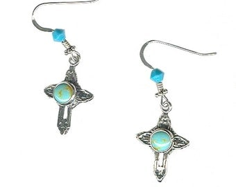 Turquoise sterling cross earrings