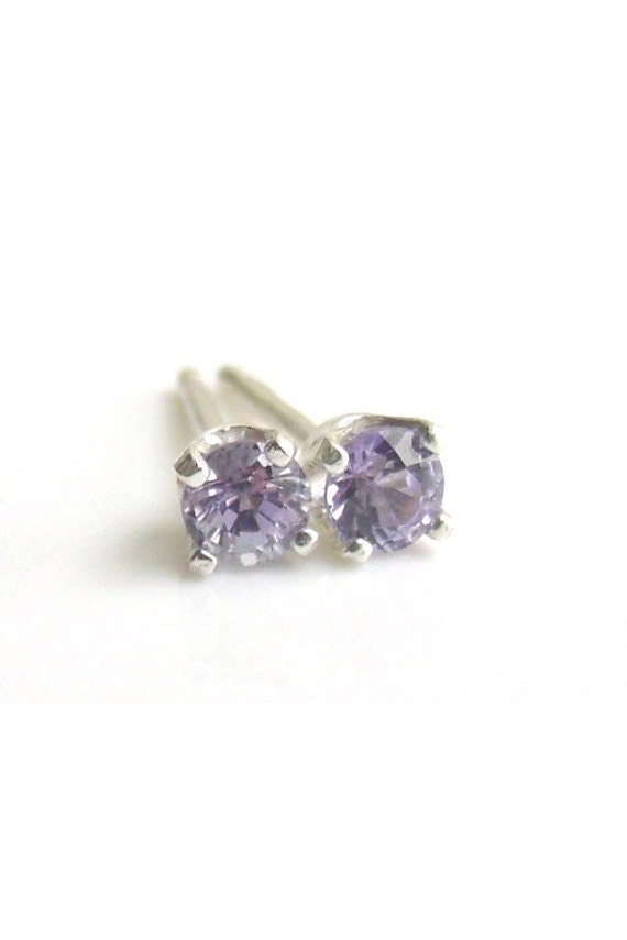 Tanzanite Stud Sterling Silver Earrings 3mm
