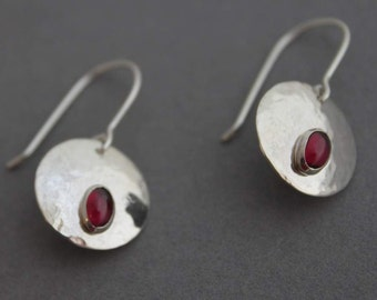Sterling Garnet Earrings, Circle Dangles, January birthstone, sterling silver, 925 sterling