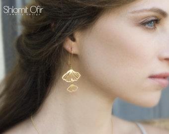 Gingko Earrings, woodland earrings, botanic jewelry