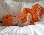 Newborn Pumpkin Lace Cocoon / Snuggle Sack and Hat in Orange Cotton Photo Prop Fall Children Clothing Halloween Costume