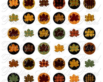Digital Collage Sheet - One Inch Circles - Tartan Maple Leaves - INSTANT DOWNLOAD