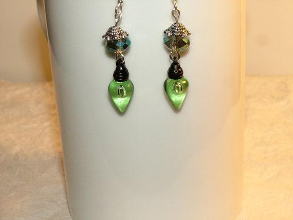 Cute Christmas Light Earrings With Veridian Czech Luster Beads, Dangle, Pierced