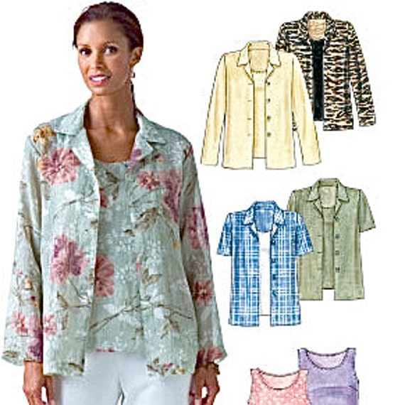 PLUS SIZE SHIRTS & Tops Sewing Pattern - Misses Top Shirt Blouse Jacket - 4 Sizes