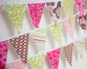Mini pennant fabric banner -Pink, Brown, Green- childrens decor, party decor or photo prop