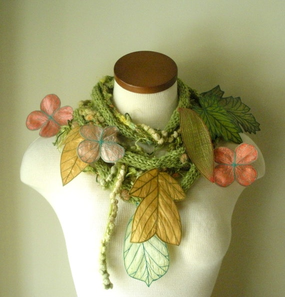 RESERVED- Long and Leafy Scarf with Embroidered Leaves- Spring Green with Peach and Golden Yellow Berries- Fiber Art Scarf