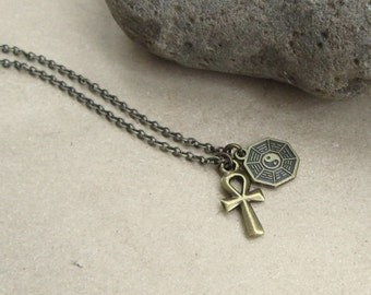 LOST TV Show Inspired Unisex Dharma and Ankh Necklace, Lost Jewelry, Lost Memorabilia,  Lost TV Show Fan