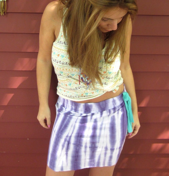 Eco Friendly Purple Tie Dye Summer Dancer Upcycled Mini Skirt Size Small/Medium by MountainGirlClothing