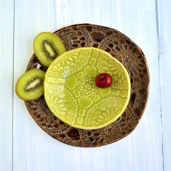ceramic nesting bowl set of 2 handmade pottery brown chartreuse Autumn Rustic