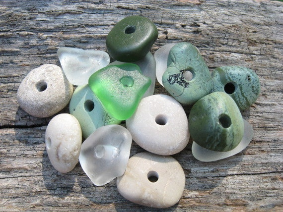 MOSSY GREEN Beach Glass Beads & Stone Beads Center Drilled Sea glass Beads