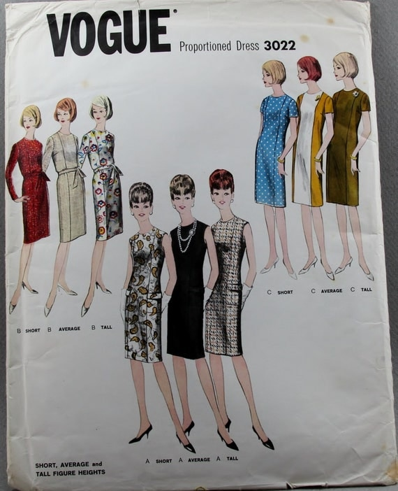Vintage Vogue 3022 Princess Seamed Sheath Dress Size 16 Bust 36 Designed to fit Short, Medium and Tall Women