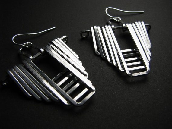 Geometric Earrings - Architectural -Aztec Temple Design - Silver tone Aluminum - handmade jewelry - handmade in Austin, Tx