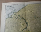 1903 City Map Cleveland Ohio - Vintage Antique Map Great for Framing 100 Years Old