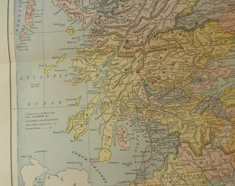 1887 Map Scotland - Vintage Antique Map Great for Framing 100 Years Old