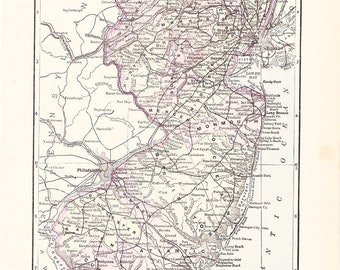1895 State Map New Jersey - Vintage Antique Map Great for Framing 100 Years Old