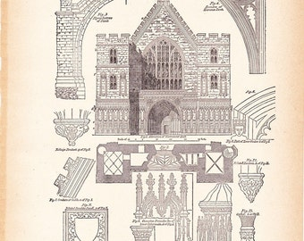 1892 Architecture Print - Westminster Hall - Vintage Antique Art Illustration History Geography Great for Framing 100 Years Old